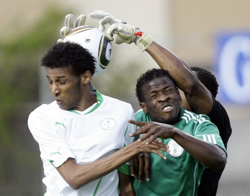 Nigeria's Yussuf and Saudi Arabia's Abduradyah fight for the ball during a friendly soccer match in Wattens