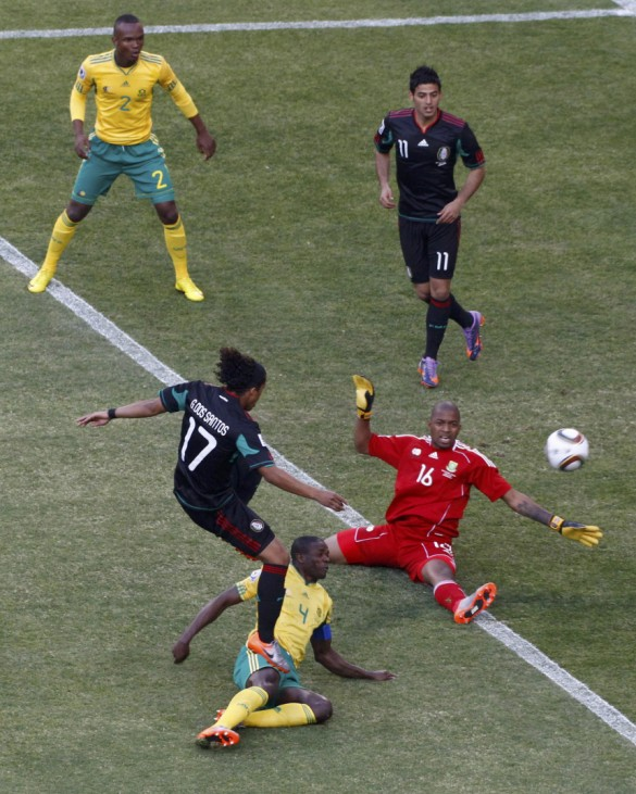 Mexico's Giovani dos Santos misses an attempt at a goal during the 2010 World Cup opening match against South Africa