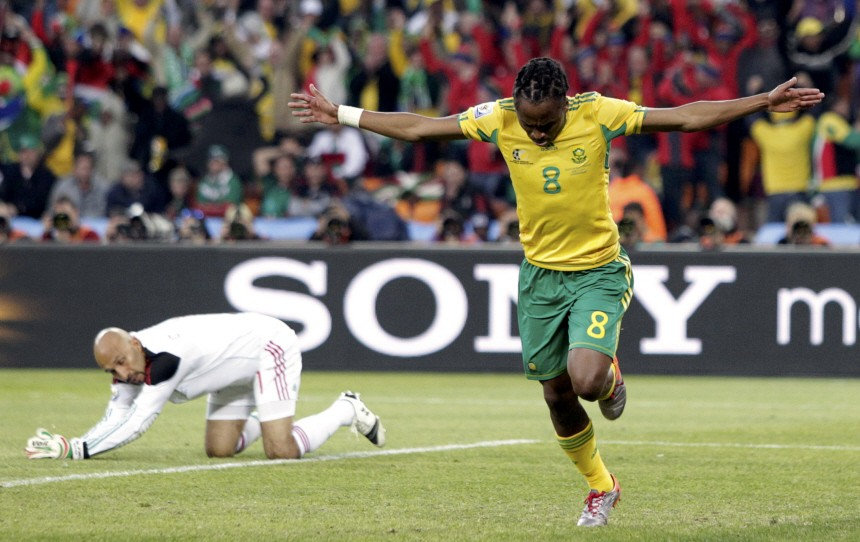 South Africa's Tshabalala celebrates after scoring against Mexico during the 2010 World Cup opening match at Soccer City stadium in Johannesburg