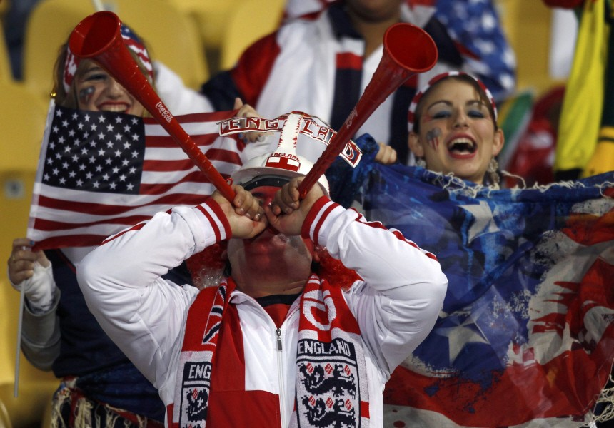 England fan blows vuvuzela horns before the 2010 World Cup Group C soccer match between the United States and England at Royal Bafokeng stadium in Rustenberg