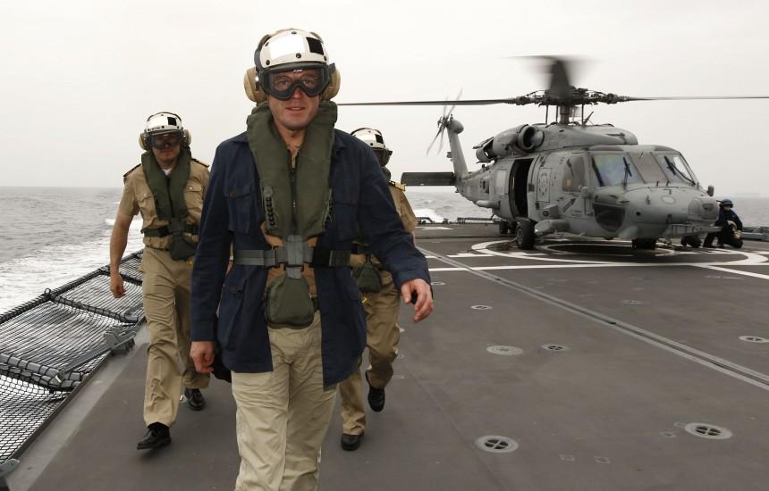 German Defence Minister Guttenberg visits German Navy frigate Hessen in the Mediterranean Sea