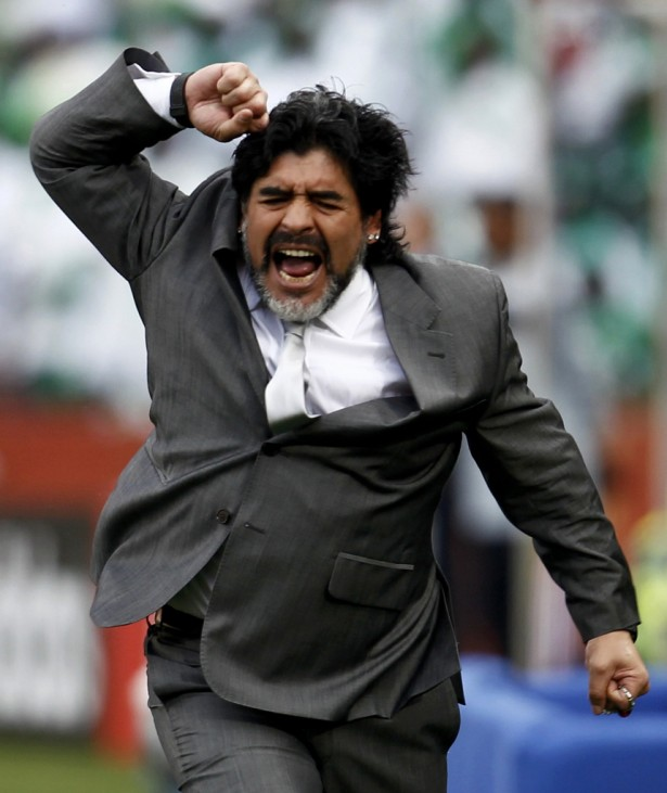Argentina's coach Maradona reacts during the 2010 World Cup Group B soccer match against Nigeria at the Ellis Park stadium in Johannesburg