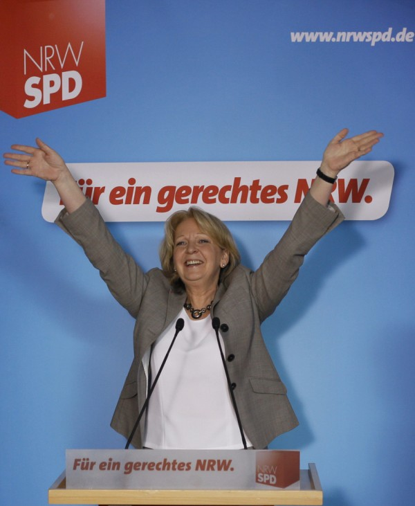 Kraft, top candidate for the Social Democratic party SPD in the federal state elections of North Rhine-Westphalia (NRW) waves to her supporters at the party headquarters in Duesseldorf