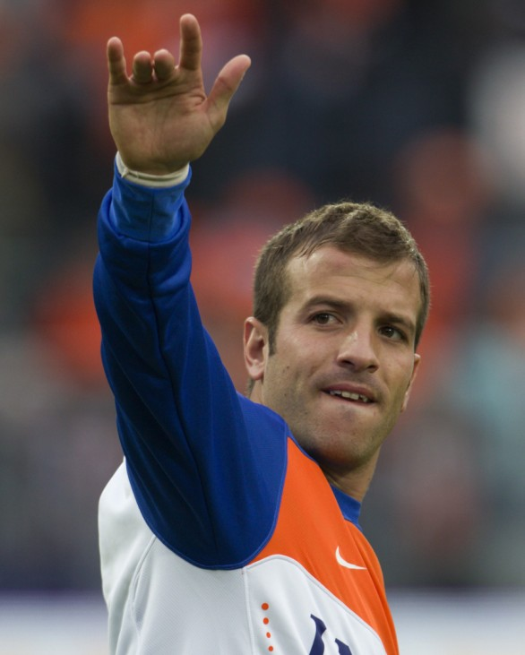 Van der Vaart of the Netherlands waves at his wife prior to his soccer friendly against Ghana ahead of the World Cup 2010, in Rotterdam
