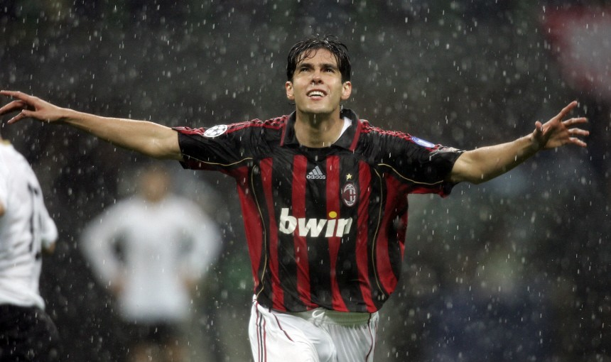 AC Milan's Kaka celebrates after scoring against Manchester United in Milan