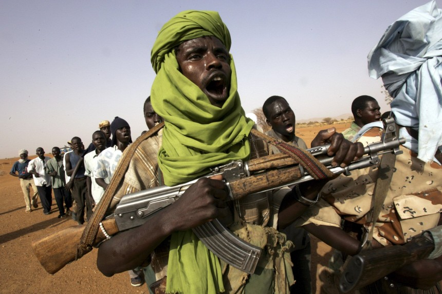 File photo shows fighters from the Minni Minawi faction of the Sudanese Liberation Army in a military exercise at Galap camp, north of Darfur