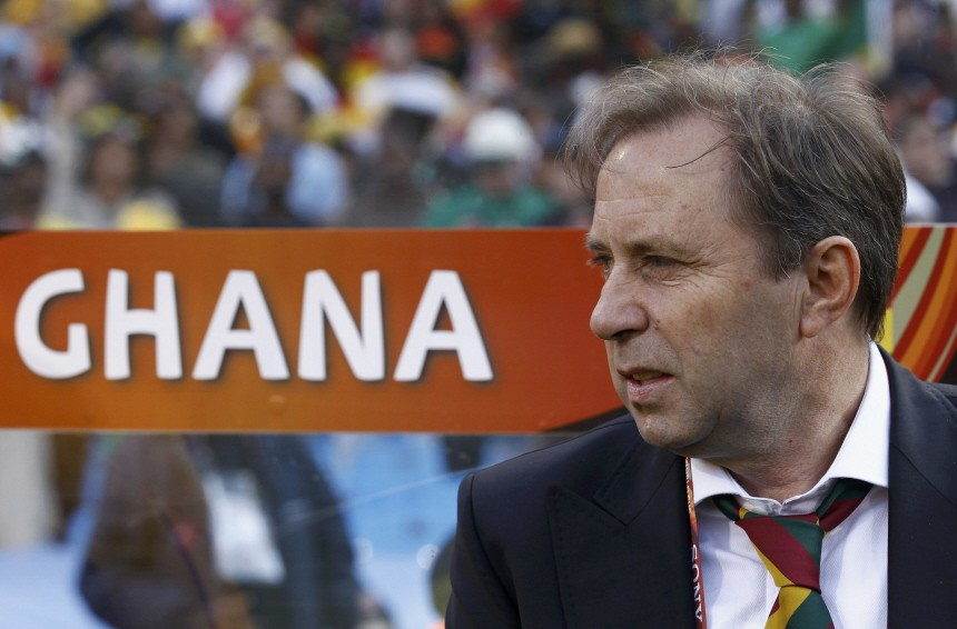 Ghana's coach Milovan Rajevac watches his players before the start of the 2010 World Cup Group D soccer match in Pretoria