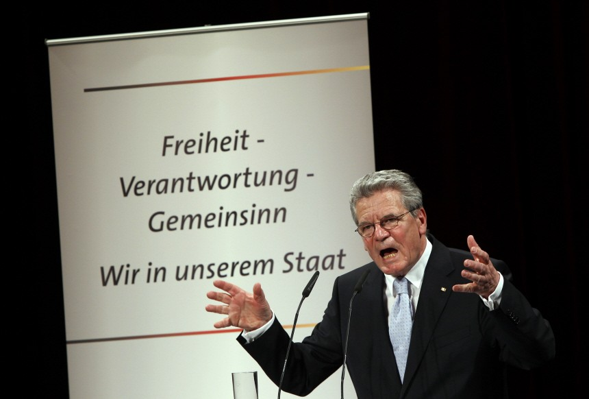 German presidential candidate Joachim Gauck delivers a speech in Berlin