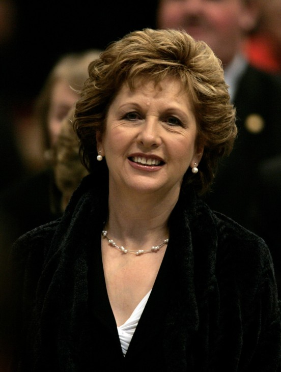 Ireland's President Mary McAleese smiles as she attends the Consistory ceremony in Saint Peter's Basilica at the Vatican