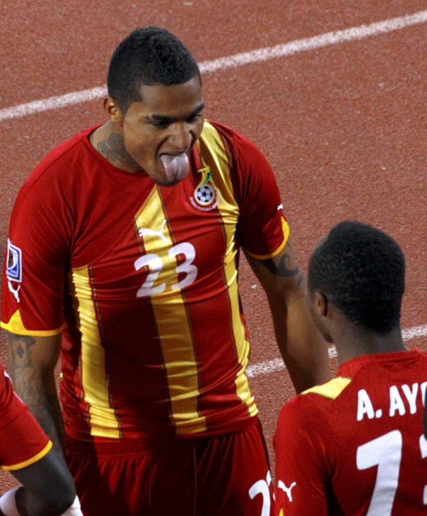 Ghana's Kevin-Prince Boateng sticks out his tongue as he celebrates after scoring a goal in Rustenburg
