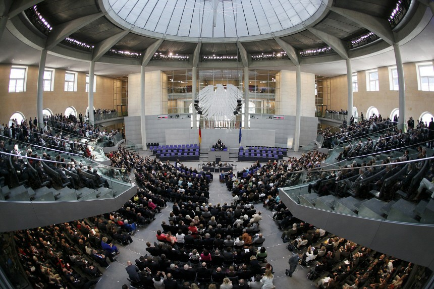 General view of plenary hall of German lower house of parliamant before the federal assembly cast their votes in the German presidential election in Berlin