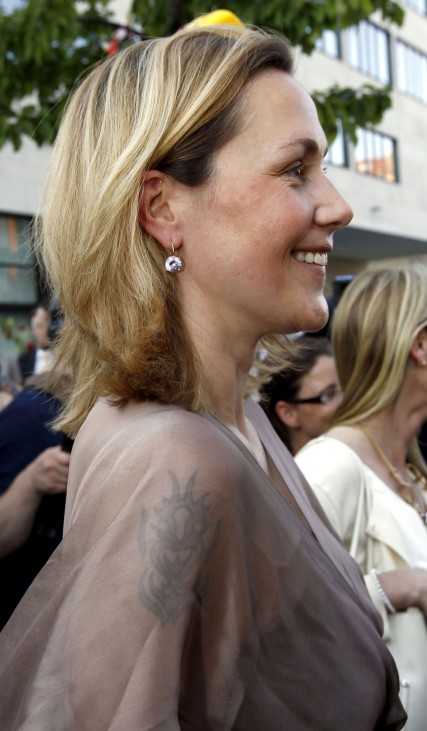 The tattoo is pictured on the arm of Bettina Wulff during summer reception in Berlin