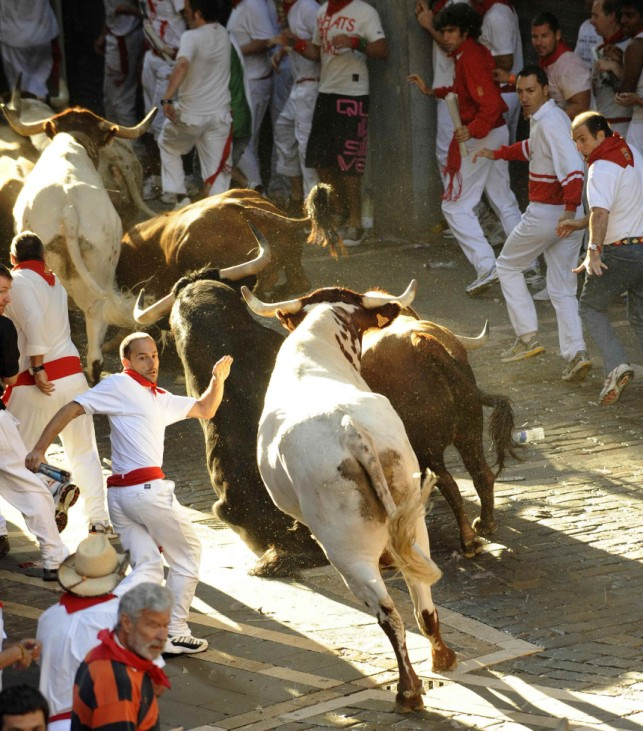 Runners sprint alongside Penajara fighting bulls at the town hall curve during the first running of the bulls on the second day of the San Fermin festival in Pamplona