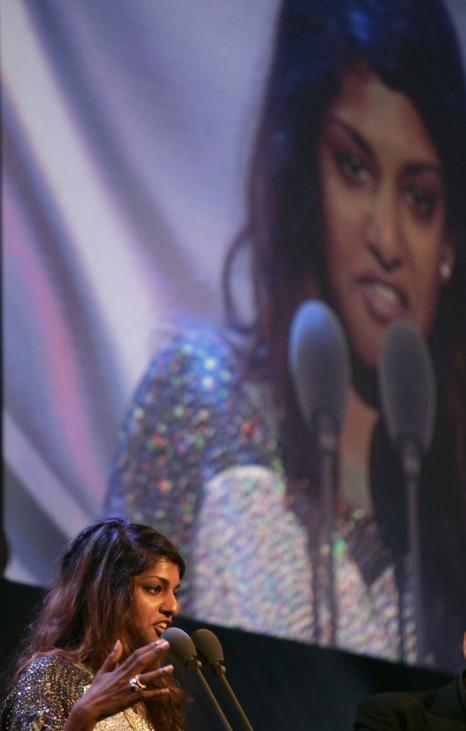 Nominated British artist Maya Arulpragasam performs during the Mercury Music Prize awards in central London