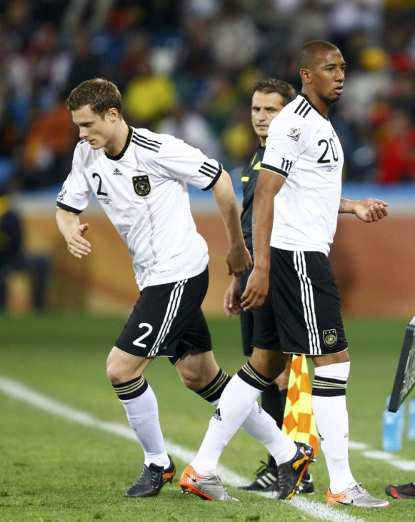 Germany's Jansen comes on for Boateng during the 2010 World Cup semi-final soccer match against Spain at Moses Mabhida stadium in Durban