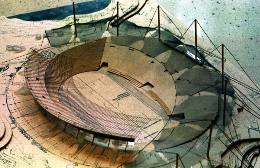 A PICTURE SHOWS A MODEL OF THE NEW OLYMPIC STADIUM IN MUNICH