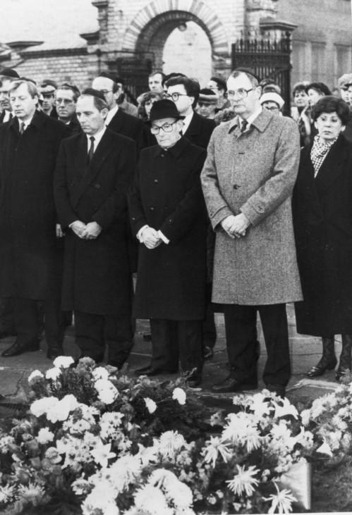 Eberhard Diepgen, Woflgang Schäuble, Heinz Galinski und Peter Kirchner, 1988