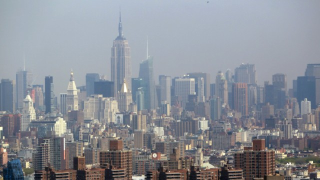 The Manhattan skyline is seen from a helicopter in New York City