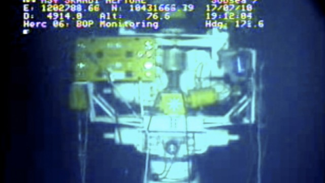 Image of new containment capping stack in the Gulf of Mexico