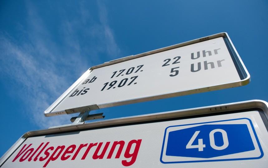 Sperrung zu Kulturhauptstadt-Projekt 'Still-Leben Ruhrschnellweg'