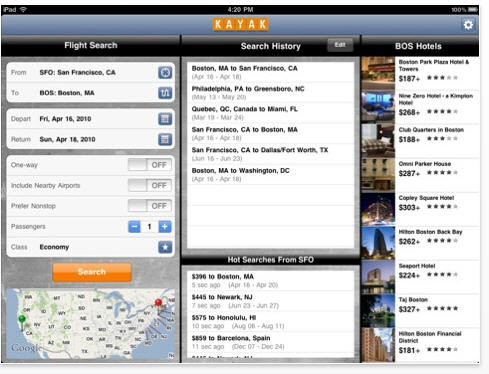 Kayak Flight iPad App
