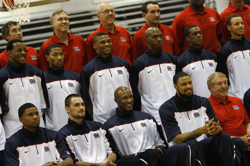 Members and coaches of the U.S. national basketball team pose for a team photo minutes before starting a practice set in Las Vegas, Nevada