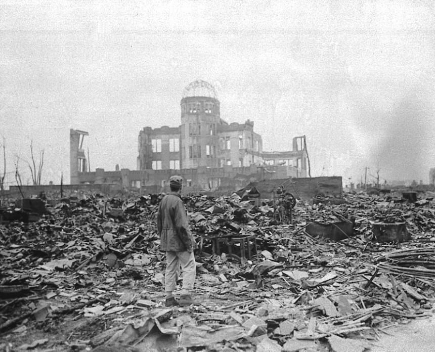 Hiroshima nach Abwurf  der Atombome, 1945