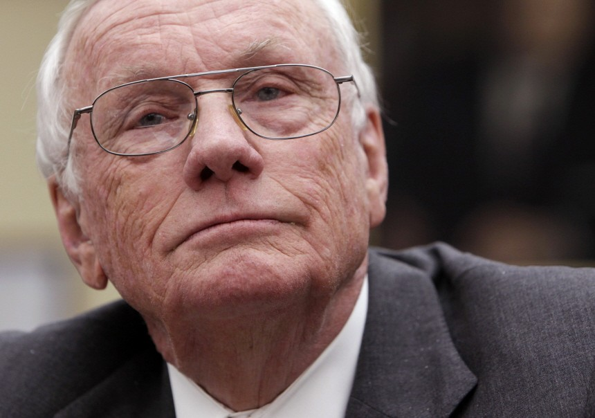 Former astronauts Neil Armstrong testifies before the House Science and Technology committee hearing in Washington