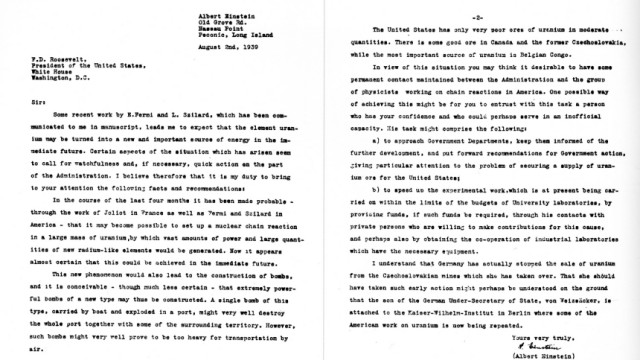 Einstein Brief an Roosevelt