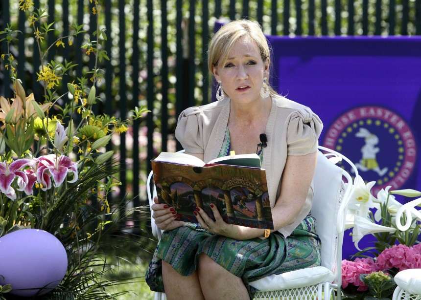 Harry Potter author J.K. Rowling reads at the annual Easter Egg Roll on the South Lawn of the White House in Washington
