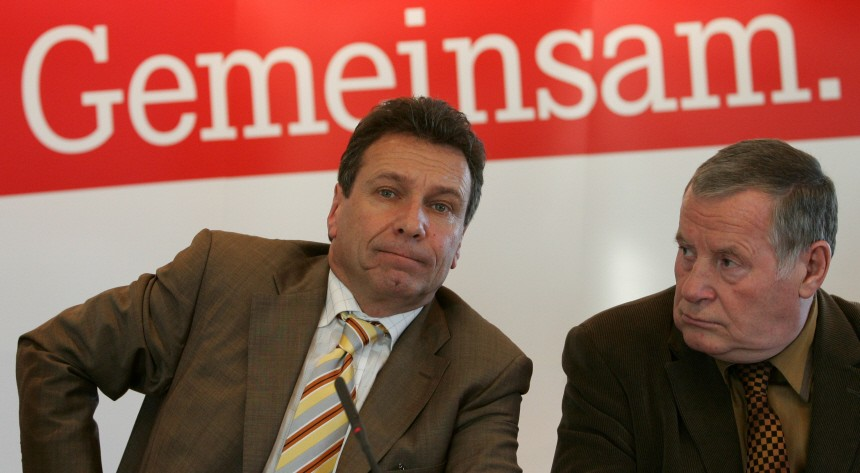 Ernst party leader of the WASG party and party leader Bisky of the 'Die Linke' party address the media during a news conference in Berlin