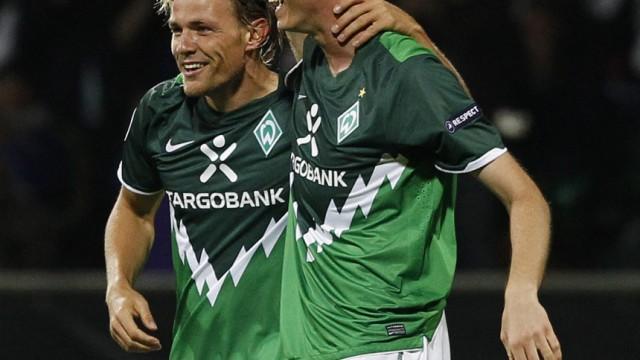 Werder Bremen's Fritz and Borowski celebrate goal against Sampdoria during Champions League playoff first-leg soccer match in Bremen