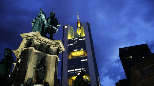 A monument of Johannes Gutenburg stands in front of the Commerzbank headquarters in Frankfur