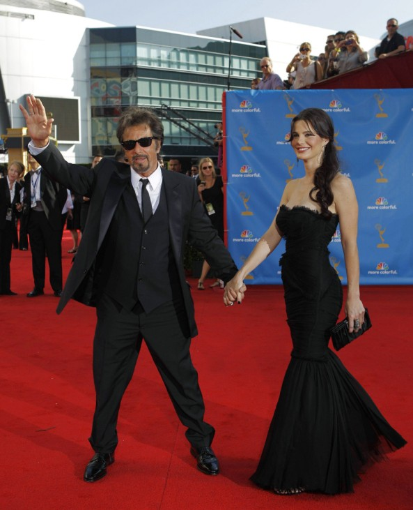 Actor Al Pacino and Lucila Sola pose at the 62nd annual Primetime Emmy Awards in Los Angeles
