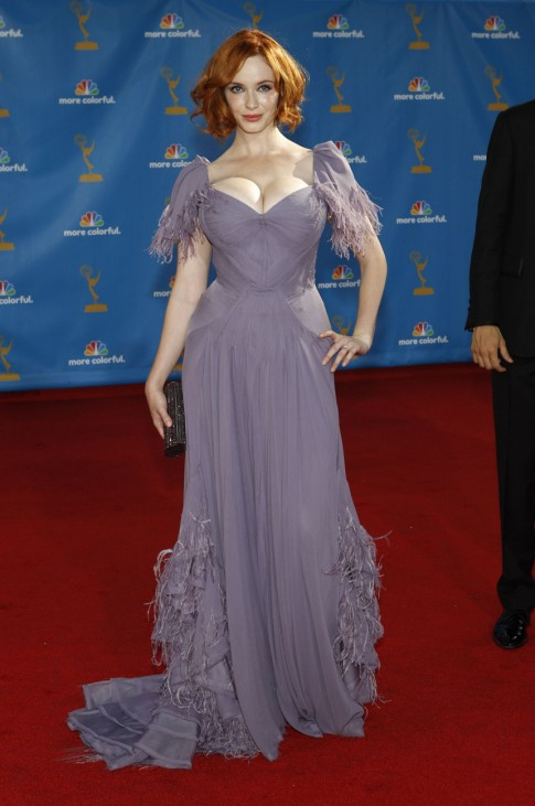 Actress Christina Hendricks from the drama series 'Mad Men' poses at the 62nd annual Primetime Emmy Awards in Los Angeles