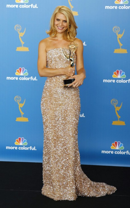 Claire Danes poses with her award for outstanding lead actress in a miniseries or movie at the 62nd annual Primetime Emmy Awards in Los Angeles