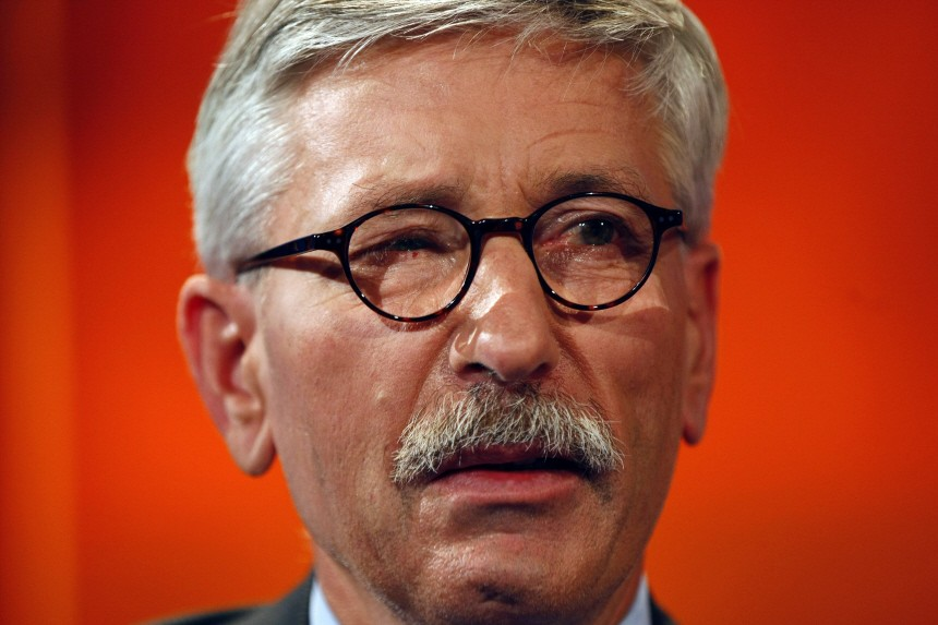 German central bank executive Thilo Sarrazin poses after the 'Hart aber fair' talkshow in Cologne