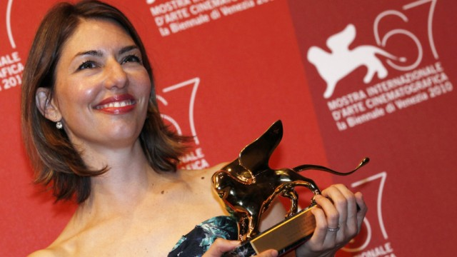 Sophia Coppola, director of 'Somewhere' receives the Golden Lion for Best Film during the closing ceremony of the 67th Venice Film Festival