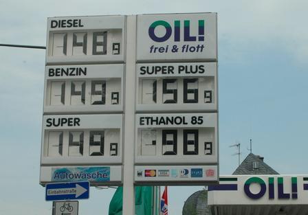 Alternative Antriebe Biokraftstoffe Tankstellenanzeige