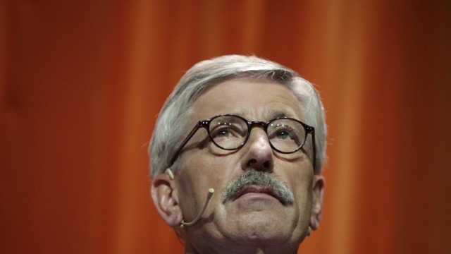 German central bank executive Thilo Sarrazin attends a discussion round following release of his book in Berlin